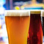 Pint glasses of beer
